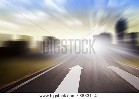 Background Of Road With Arrow And Motion Blur
