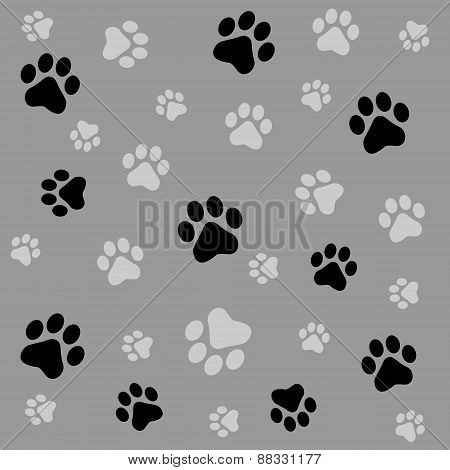 Dog Paw Prints Seamess Pattern