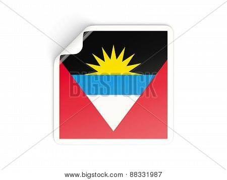 Square Sticker With Flag Of Antigua And Barbuda