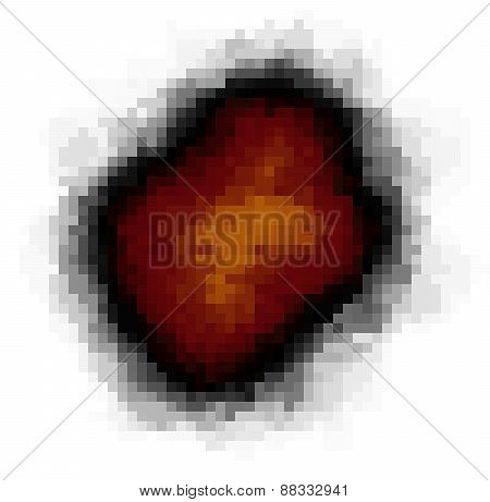 Pixel Explosion Isolated Over White In Fire Color