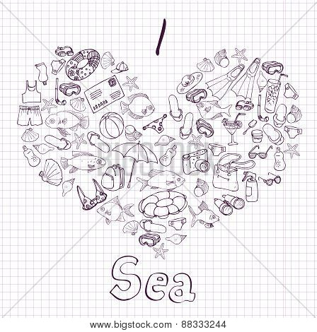 sea card with heart