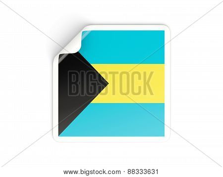Square Sticker With Flag Of Bahamas