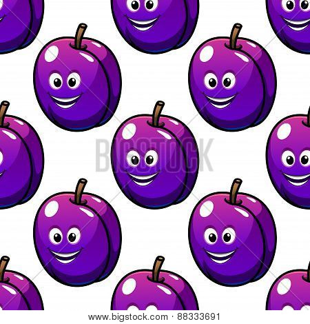 Cartoon violet plum fruit seamless pattern
