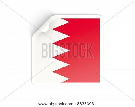 Square Sticker With Flag Of Bahrain