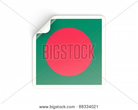 Square Sticker With Flag Of Bangladesh