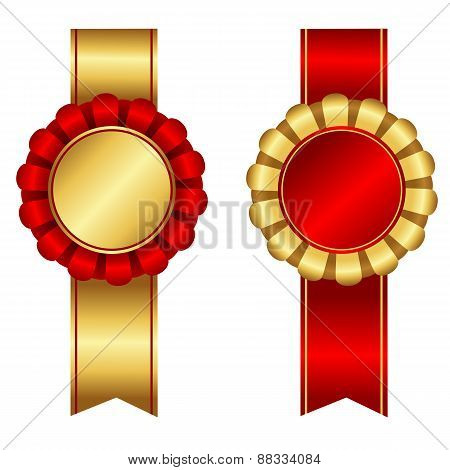 Award Ribbon Rosette Red And Gold