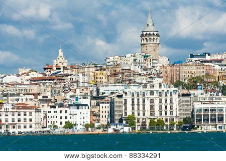 Galata Tower over the Golden Horn in Istanbul, Turkey seen from the ship