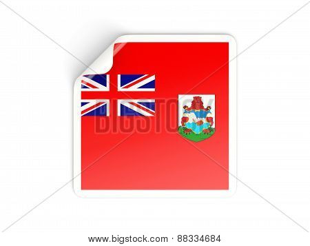 Square Sticker With Flag Of Bermuda
