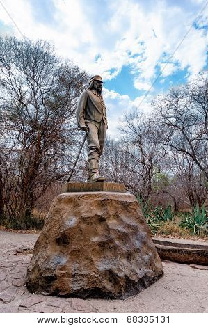 Statue Of David Livingstone In The Victoria Falls