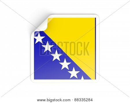 Square Sticker With Flag Of Bosnia And Herzegovina