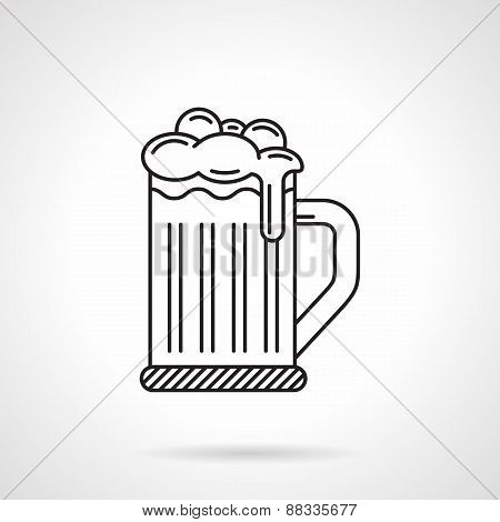 Glass of beer black line vector icon