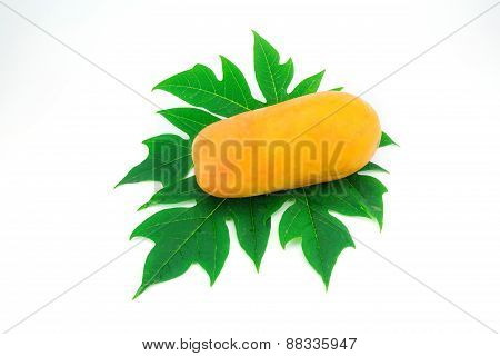 Papaya Fruit And Papaya Leaf Isolated Over White Background