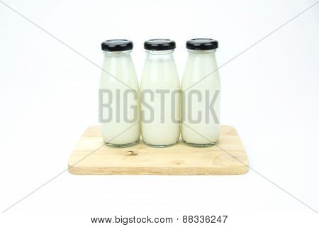 Glass Milk Bottle Isolated On White