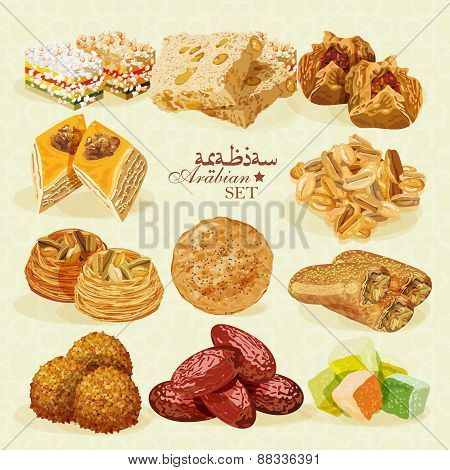 Arabic Food. Set of Eastern desserts