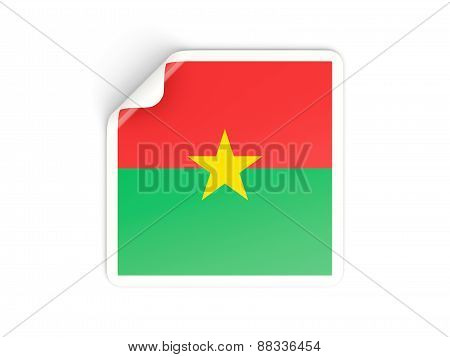 Square Sticker With Flag Of Burkina Faso
