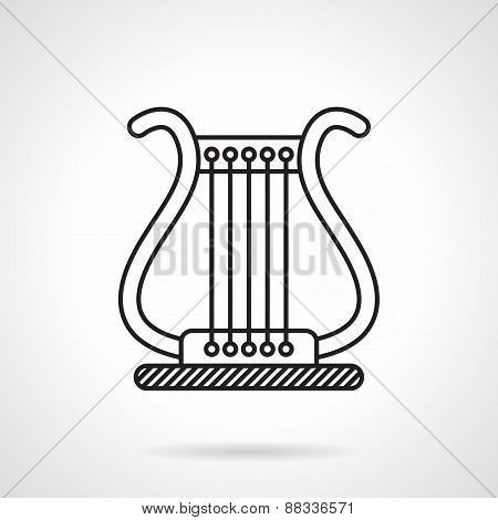 Lyre black line vector icon