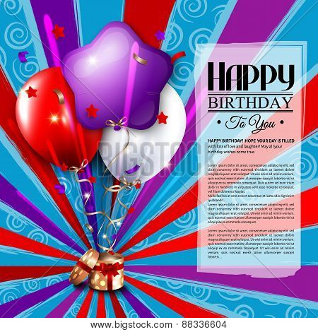 Birthday card with open gift box, balloons and magic light fireworks.