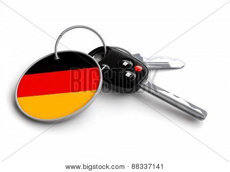 Car keys with German flag on keyring
