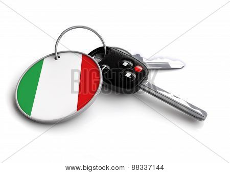 Car keys with Italian flag on keyring