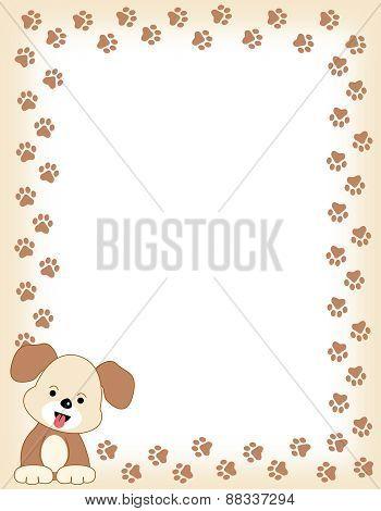 Dog Paw Print Frame With Dog