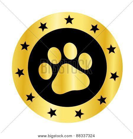 Gold Paw Print Logo