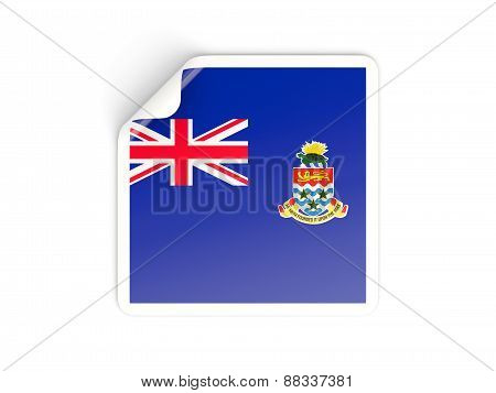 Square Sticker With Flag Of Cayman Islands