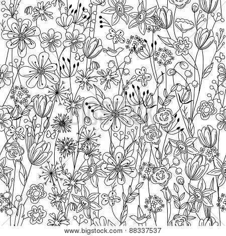 Seamless pattern with contour black-and-white flowers