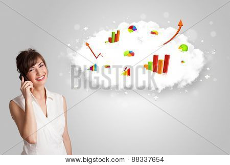Young woman presenting cloud with graphs and charts concept