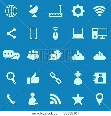 Network Color Icons On Blue Background