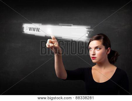 Young woman touching web browser address bar with www sign