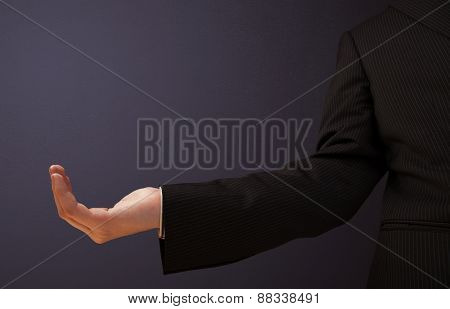 Businessman presenting empty space