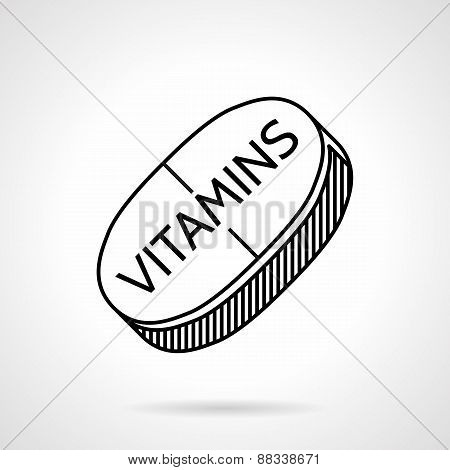 Vitamins black line vector icon