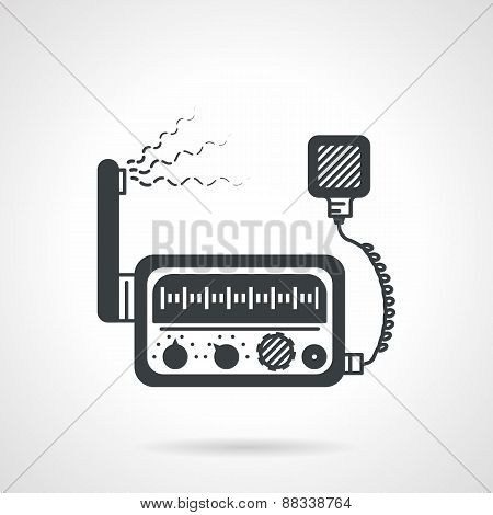 Radio transceiver black vector icon