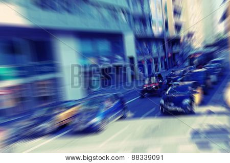 Abstract background. Traffic blur motion in modern city