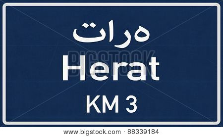 Herat Afghanistan Highway Road Sign