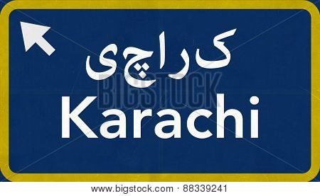 Karachi Pakistan Highway Road Sign