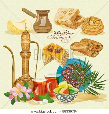 Set of arabic household items