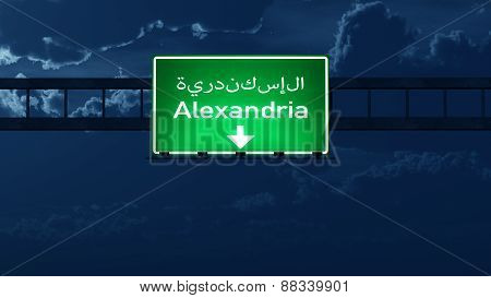 Alexandria Egypt Highway Road Sign At Night