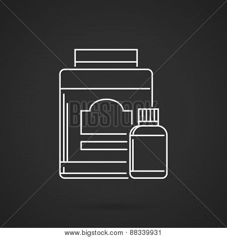 Sports nutrition white line vector icon