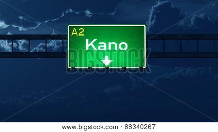 Kano Nigeria Highway Road Sign At Night