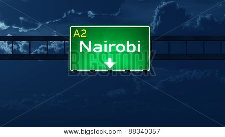 Nairobi Kenya Highway Road Sign At Night