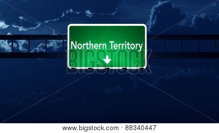 Northern Territory Australia Highway Road Sign At Night
