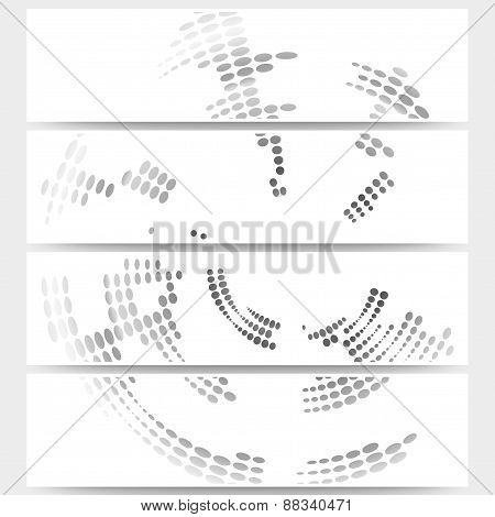Web banners set of header layout templates, circle halftone vector backgrounds for your website desi