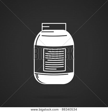 Jar white contour vector icon