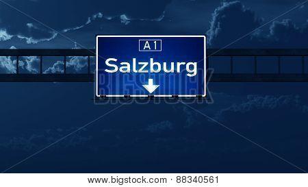 Salzburg Austria Highway Road Sign At Night