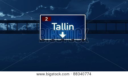 Tallin Estonia Highway Road Sign At Night