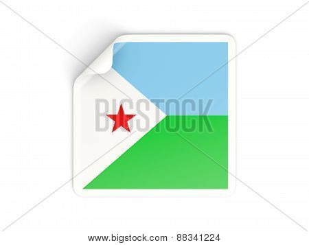 Square Sticker With Flag Of Djibouti