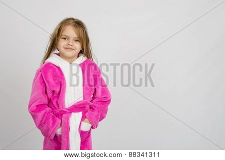 Six Year Old Girl In Bathrobe, A Place Under An Inscription