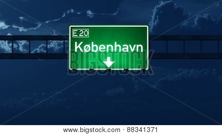 Kobenhavn Denmark Highway Road Sign At Night
