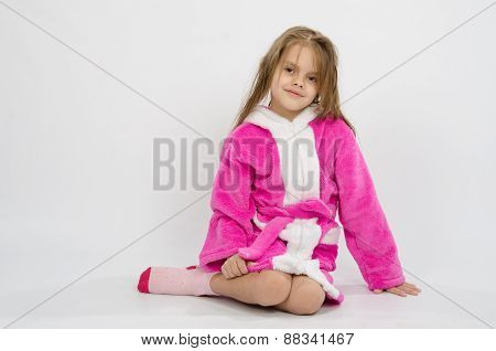 Six Year Old Girl In A Bathrobe